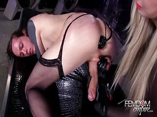 Ass pegging and milking  in the  dungeon