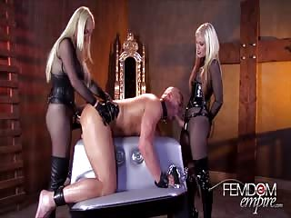 Slave whipped and double  penetrated with femdom strapon