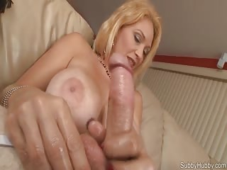 Busty stepmom dominating her step son