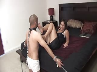 Foot worshiper bounded to please mistress feet