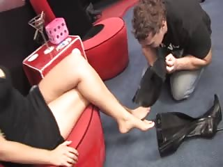 Sub male sniff mistress feet and boots